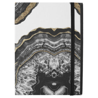 "Modern Gold Black and White Agate Geode Stone iPad Pro 12.9"" Case"