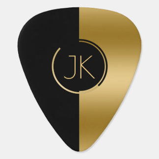 Modern Gold & Black Geometric Design Guitar Pick