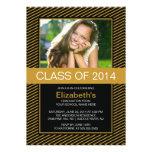 Modern Gold Black Photo Graduation Party Invite