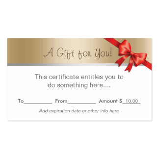 Modern Gold Border Gift Certificate Pack Of Standard Business Cards