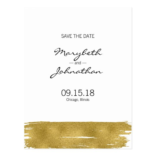 Modern Gold Brushstroke Save The Date Postcard