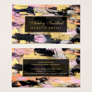Modern gold brushstrokes acrylic pink black makeup business card