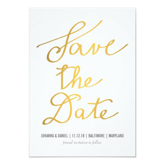 Modern Gold Calligraphy Wedding Save The Date 13 Cm X 18 Cm Invitation Card
