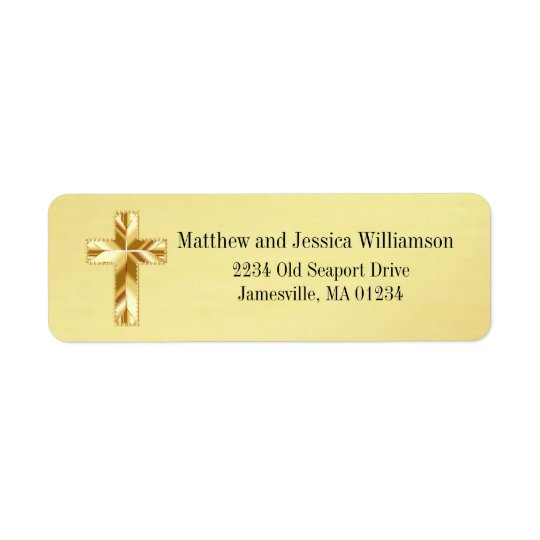 Modern Gold Christian Cross Return Address Labels