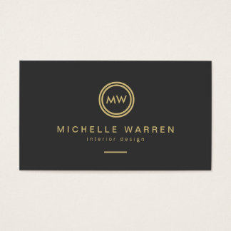 Modern Gold Circle Monogram Initials on Dark Gray Business Card