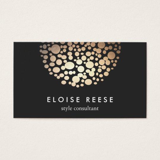 Modern Gold Circles Beauty Salon Business Card