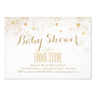 Modern Gold Confetti Dots Baby Shower Card