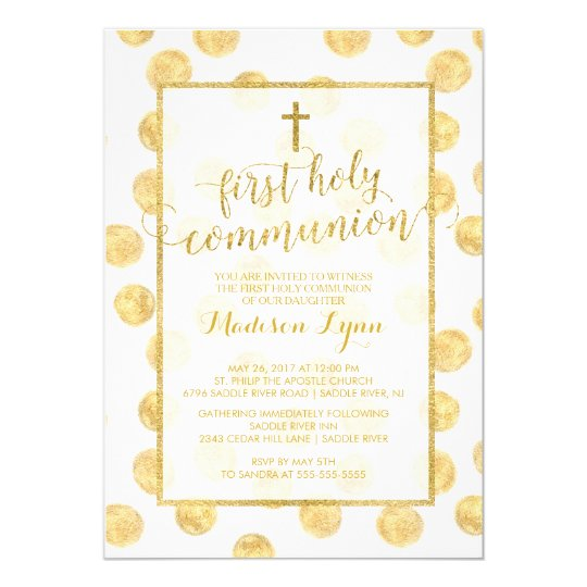 Modern Gold Cross First Holy Communion Invitation