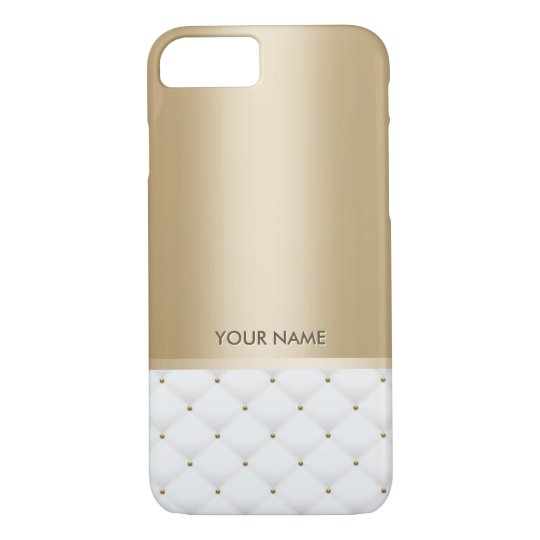 Modern Gold Custom Name Luxury White Quilted iPhone 8/7 Case