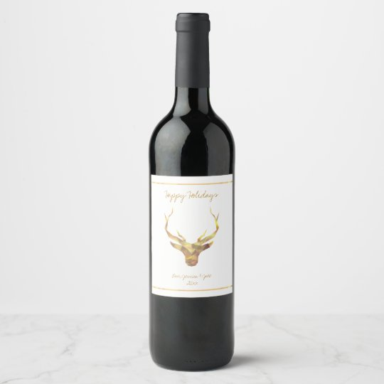 Modern Gold Deer, Holiday Wine Label