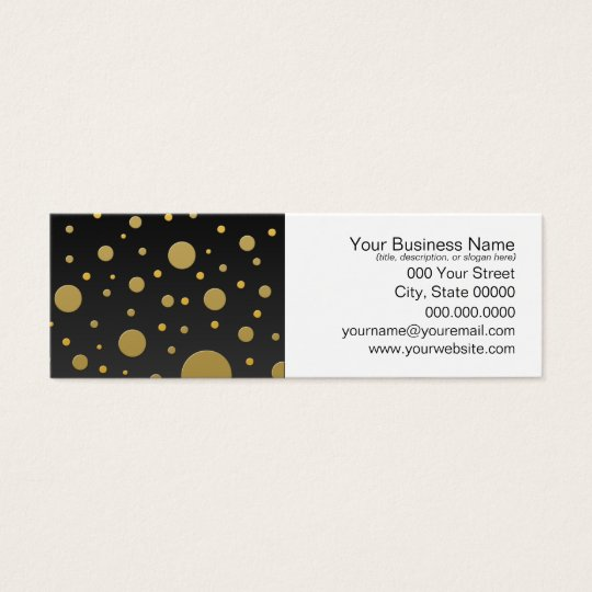 Modern Gold Dots on Black Background Mini Business Card