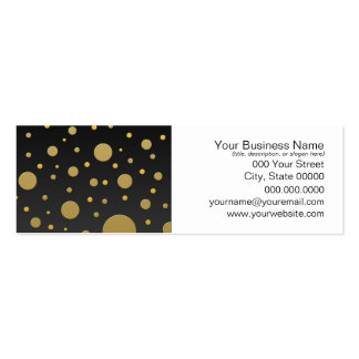 Modern Gold Dots on Black Background Pack Of Skinny Business Cards