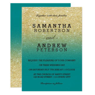 Modern gold faux glitter turquoise ombre wedding card