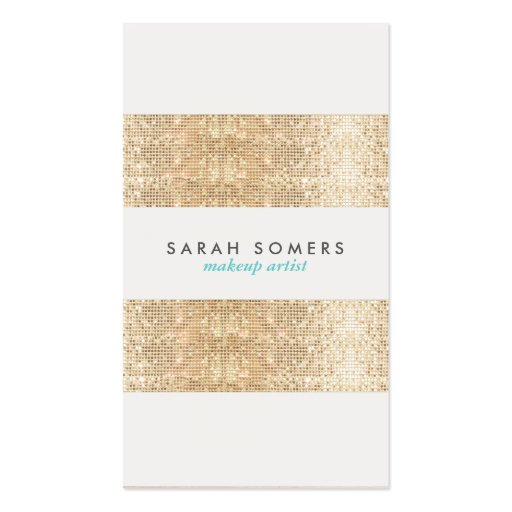 Modern Gold Faux Sparkly Sequins Makeup Artist Business Card Templates
