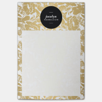 Modern Gold Flowers Black Circle Post-it Notes