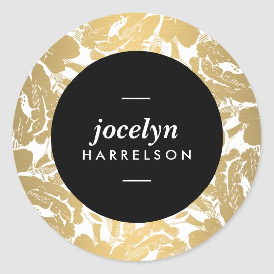Modern Gold Flowers Personalised Stickers