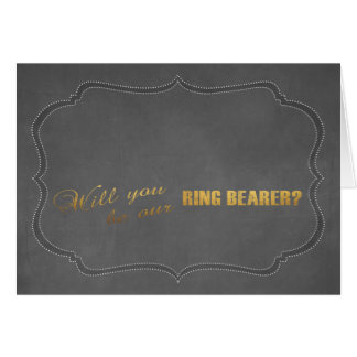 Modern Gold Foil Chalk Will You Be Our RING BEARER Card