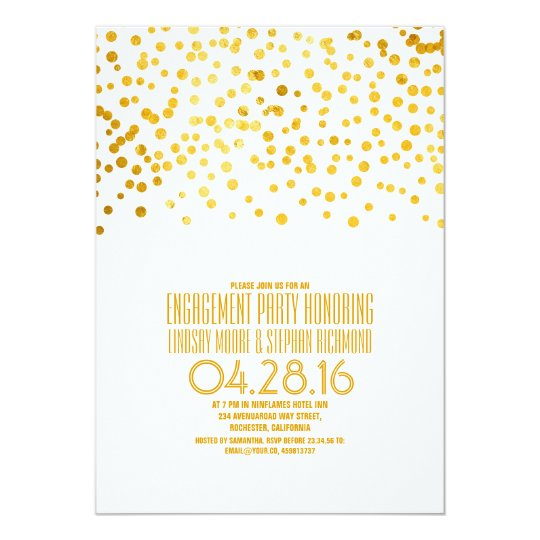 Modern Gold Foil Confetti Engagement Party Card