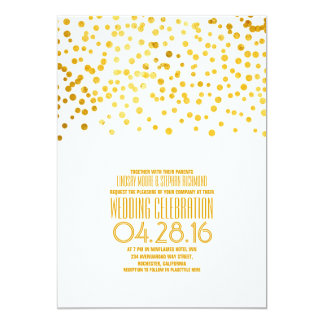 Modern Gold Foil Confetti Wedding Invitation