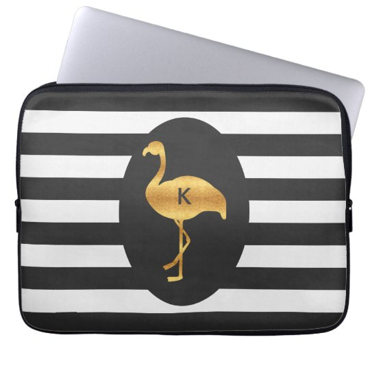Modern Gold Foil Flamingo Monogram Laptop Sleeve