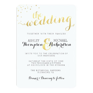 Modern Gold Foil Glamour Wedding Invitation