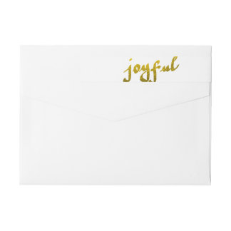 Modern Gold Foil Joyful Script Holiday Wrap Around Label