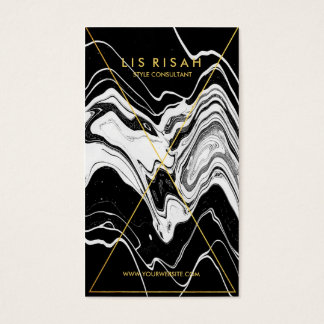 Modern Gold Foil Line Art with Black White Marble Business Card