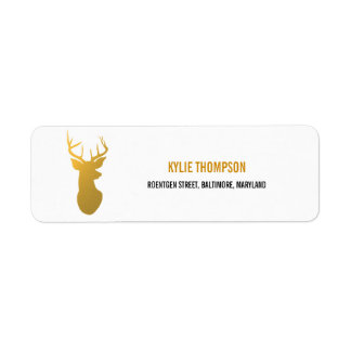 Modern Gold Foil Reindeer Christmas Holiday Return Address Label