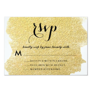 MODERN GOLD FOIL RESPONSE CARDS 9 CM X 13 CM INVITATION CARD