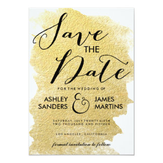 MODERN GOLD FOIL SAVE THE DATE 13 CM X 18 CM INVITATION CARD