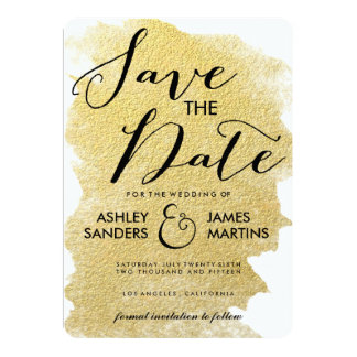 MODERN GOLD FOIL SAVE THE DATE PERSONALIZED ANNOUNCEMENT