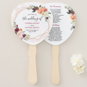 Modern Gold Frame Bloom Floral Wedding Program Hand Fan
