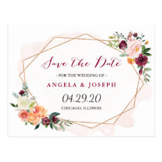 Modern Gold Frame Watercolor Floral Save the Date