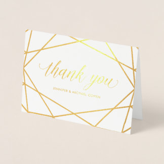 Modern Gold Geometric | Thank You Foil Card