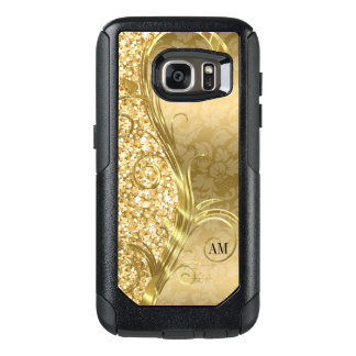 Modern Gold Glitter And Damask OtterBox Samsung Galaxy S7 Case