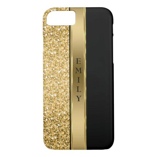 Modern Gold Glitter And Stripe iPhone 7 Case