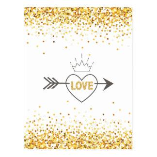 Modern Gold Glitter & Arrow True Heart Postcard
