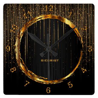 Modern Gold Glitter Galaxy Star Design Square Wall Clock