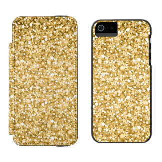 Modern Gold Glitter Incipio Watson™ iPhone 5 Wallet Case