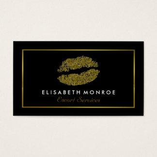 Modern Gold Glitter Lips, Escort Service Business Card