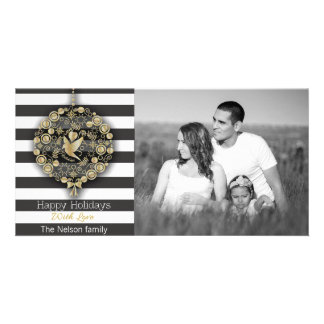 Modern Gold Glitter Ornament and Striped Christmas Photo Cards