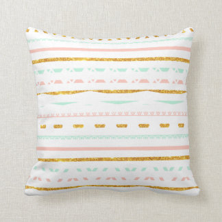 Modern Gold Glitter Pink Mint girly Aztec Pattern Cushion