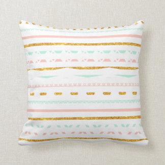 Modern Gold Glitter Pink Mint girly Aztec Pattern Throw Pillow
