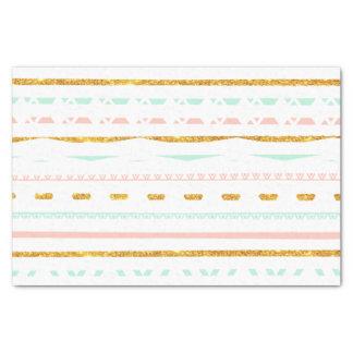 Modern Gold Glitter Pink Mint girly Aztec Pattern Tissue Paper