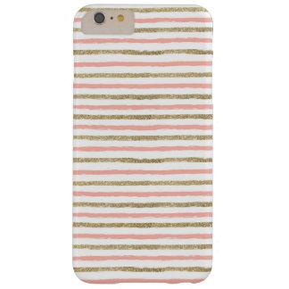 Modern Gold Glitter Pink Stripe iPhone 6 PLUS Case