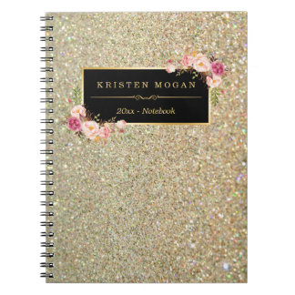 Modern Gold Glitter Sparkles Girly Floral Spiral Note Book