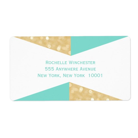 Modern Gold Glitter & Teal Wedding Address Labels
