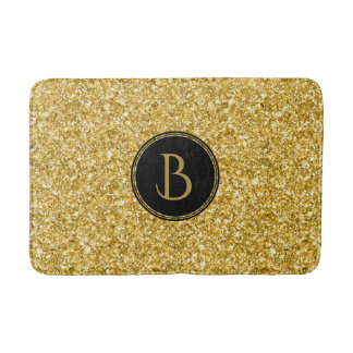 Modern Gold Glitter Texture With Monogram Bath Mat