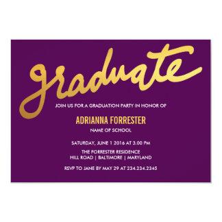 Modern Gold Graduate Typography Purple Chevron 13 Cm X 18 Cm Invitation Card