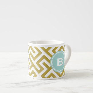 Modern gold greek key geometric patterns monogram espresso cup